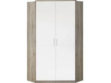 MID.YOU BEGEHBARER ECKSCHRANK Weiß, Braun , 8 Fächer, 95x198x95 cm