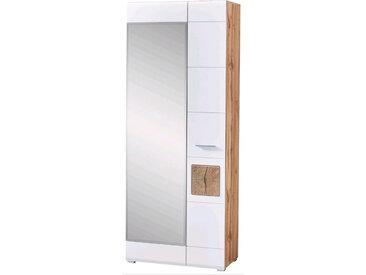 Voleo GARDEROBENSCHRANK Weiß, Braun , 5 Fächer, 80x201x37 cm