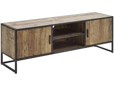 Livetastic TV-ELEMENT Kiefer, Recyclingholz massiv Schwarz, Braun , Holz, Metall, 3 Fächer, 160x54x42 cm