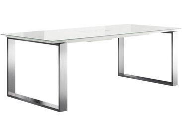 Now by hülsta ESSTISCH rechteckig Weiß, Silber , Metall, Glas, 100x75 cm