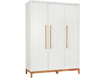 Jimmylee BABYKLEIDERSCHRANK Scandic Weiß, Braun , massiv, 5 Fächer, 135x190x55 cm