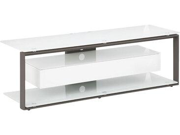 Livetastic TV-RACK Metall, Glas Weiß , 130x42x40 cm