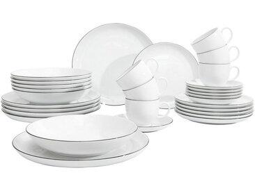 Seltmann Weiden Porzellan KOMBISERVICE 30-teilig , Weiß, Keramik, Uni, 210 ml.210 ml