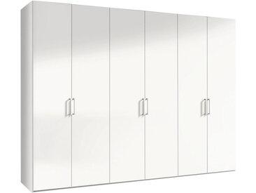 Hom`in DREHTÜRENSCHRANK 6-türig Weiß , 7 Fächer, 216x300 cm