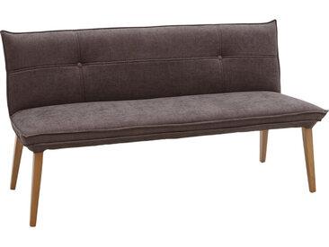 Voleo SITZBANK Webstoff Eiche massiv Grau, Braun , Holz, 3-Sitzer, 159x85x60 cm