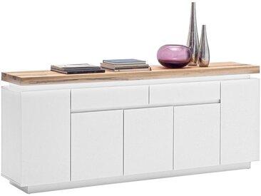 XXXLutz SIDEBOARD matt, Mattlack Weiß , Holz, Eiche, massiv, 2 Fächer, 200x81x40 cm