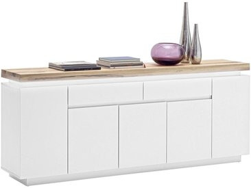 XXXLutz SIDEBOARD Weiß, Braun , Holz, massiv, 2 Fächer, 200x81x40 cm