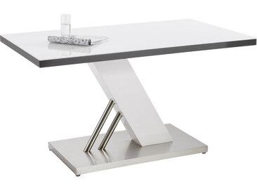 Carryhome ESSTISCH rechteckig Weiß, Silber , Metall, Glas, 80x76x140 cm