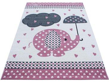Ben'n'jen KINDERTEPPICH 160/230 cm Weiß, Rosa , Elefant, 160x230 cm