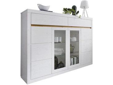 Livetastic HIGHBOARD Kiefer massiv Weiß, Braun , Holz, Glas, 6 Fächer, 170x125x42 cm