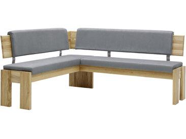 Voleo ECKBANK Lederlook Eiche massiv Grau, Braun , Holz, Uni, 3-4-Sitzer, 167 cm