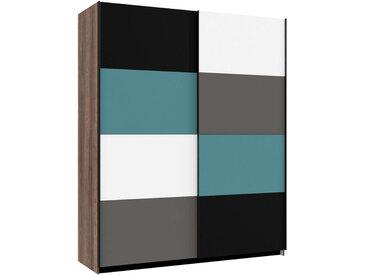 Carryhome SCHWEBETÜRENSCHRANK 2-türig Mehrfarbig, Braun , 170x210x61 cm