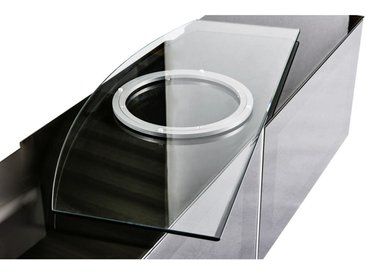XXXLutz TV-DREHPLATTE Metall, Glas Weiß, Silber , 90x2.5x38 cm