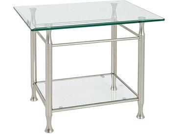 XXXLutz BEISTELLTISCH rechteckig Silber , Metall, Glas, 58x52x43 cm