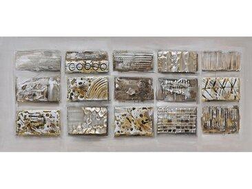Monee BILD Abstraktes , Mehrfarbig, Beige, Holz, Metall, Fichte, massiv, 120x55 cm