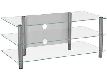 Livetastic PHONOTISCH Metall, Glas Weiß, Grau , 110x45x42 cm