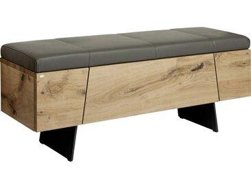 Voglauer GARDEROBENBANK Echtleder Eiche furniert, mehrschichtige Massivholzplatte (Tischlerplatte) Grau, Braun , Holz, Leder, 128.2x49.0x38.8 cm