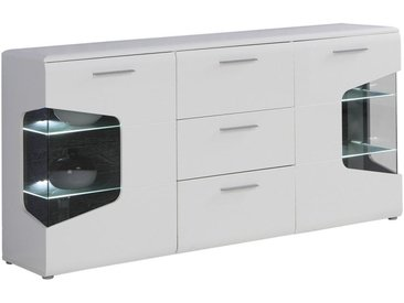 Hom`in SIDEBOARD Weiß, Braun , Glas, 4 Fächer, 180x89x41 cm