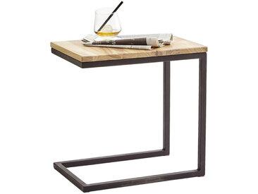 Xora BEISTELLTISCH Wildeiche massiv rechteckig Schwarz, Braun , Holz, Metall, 45x45x30 cm