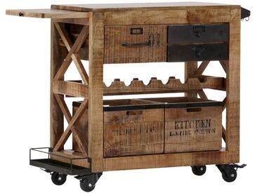 Carryhome BARWAGEN Mangoholz massiv Schwarz , Holz, Metall, 97x85x43 cm