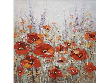 Monee ÖLGEMÄLDE Blumen , Mehrfarbig, Holz, Fichte, 100x100 cm