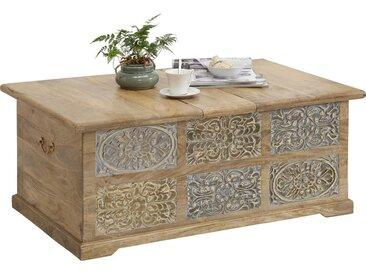 Ambia Home TRUHE Holz Mangoholz massiv , Mehrfarbig, Mehrfarbig, 110x45x70 cm