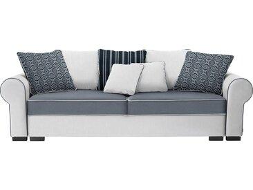 Livetastic BIGSOFA Mikrofaser Weiß, Grau , 2-Sitzer, 256x74-90x106 cm