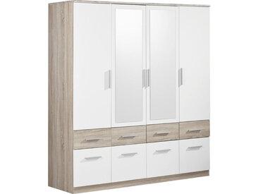 Carryhome KLEIDERSCHRANK 4-türig Weiß, Beige , Kunststoff, 180x198x55 cm