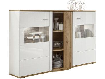Stylife HIGHBOARD Weiß, Braun , 6 Fächer, 161x121x54 cm