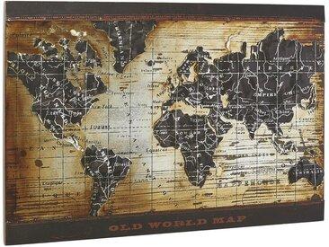 Monee METALLBILD Weltkarte , Mehrfarbig, Metall, 70x120 cm