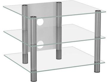 MID.YOU PHONOTISCH Metall, Glas Weiß, Grau , 60x45x42 cm