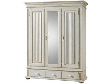 Livetastic GARDEROBENSCHRANK Fichte massiv Weiß , Holz, 2 Fächer, 152x193x59 cm