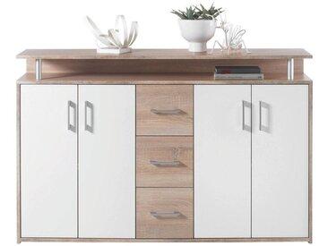 Carryhome: Kommode, Holzwerkstoff, Weiß, Sonoma Eiche, B/H/T 139 90 34