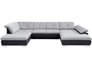 Xora WOHNLANDSCHAFT Weiß Flachgewebe , Uni, 7-Sitzer, 211 cm
