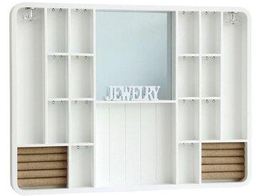XXXLutz SCHMUCKSCHRANK, Weiß, Braun, Holz, Glas, Tanne, 60x45x4 cm