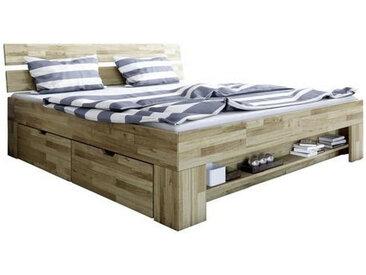 Carryhome STAURAUMBETT 180/200 cm , Braun, Holz, Wildeiche, massiv, 180x200 cm