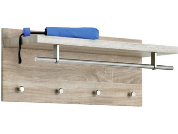 Carryhome WANDGARDEROBE Braun, Silber , Holz, Metall, 75x30x26 cm