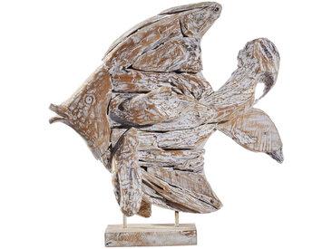 XXXLutz DEKOFISCH, Weiß, Holz, Teakholz, massiv, 65x75x15 cm