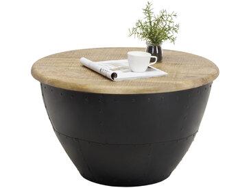 Carryhome COUCHTISCH Mangoholz massiv rund Schwarz , Holz, Metall, 72x43x72 cm