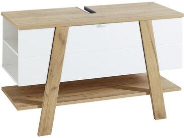 Livetastic WASCHBECKENUNTERSCHRANK Weiß, Braun , Nachbildung, 2 Fächer, 110x67x46 cm