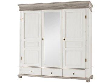 Carryhome KLEIDERSCHRANK 3-türig Kiefer massiv Weiß , Holz, 196x200x63 cm