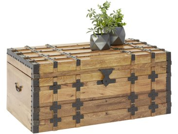 Livetastic TRUHE Holz, Metall Mangoholz massiv , Mehrfarbig, 100x45x55 cm