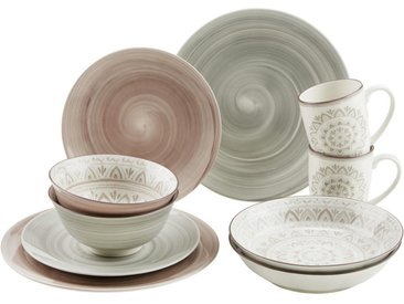 Ritzenhoff Breker Steinzeug KOMBISERVICE 30-teilig , Braun, Keramik, Ornament, 350 ml.680 ml