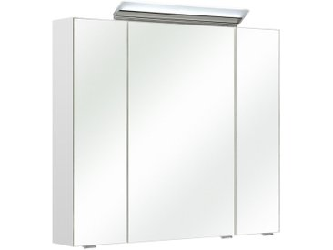 Xora SPIEGELSCHRANK Weiß , Nachbildung, 6 Fächer, 80x70x16 cm
