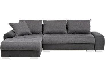 Carryhome ECKSOFA Grau, Schwarz Webstoff, Flachgewebe , 4-Sitzer, 198 cm