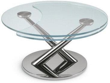 XXXLutz COUCHTISCH rund Silber , Metall, Glas, 80x40 cm