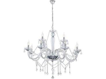 XXXLutz KRONLEUCHTER, Weiß, Silber, Metall, Kunststoff, 110 cm