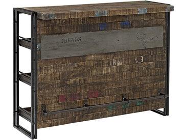 XXXLutz BAR Mangoholz massiv Schwarz , Holz, 3 Fächer, 140x105x52 cm