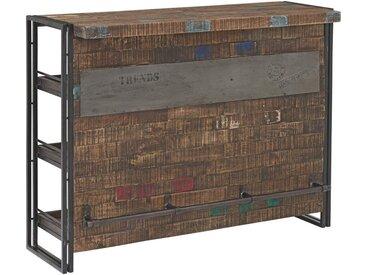 XXXLutz BAR Mangoholz massiv lackiert, gewachst Schwarz , Holz, 3 Fächer, 140x105x52 cm
