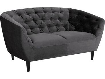 Ambia Home CHESTERFIELD-SOFA Samt Grau , Kautschukholz, massiv, 2-Sitzer, 150x78x84 cm